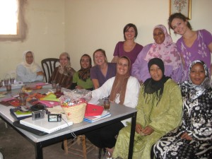 Heather, Katie, and Vanessa with the ladies of Ait Ourir