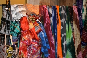 A wonderland of colorful, hand-woven scarves