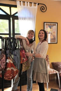 Heather and Katie with Spring 2014 Handmade Bag Collection