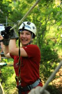 Bridgette Zip lining in Mexico
