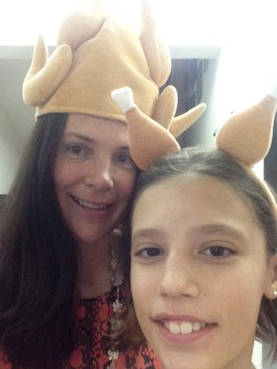 Tara and her girls in turkey hats