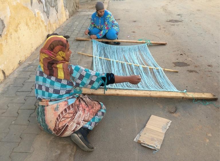 stringing the loom